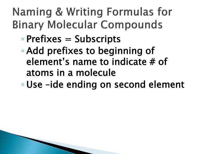 How to write chemical formulas for binary molecular compounds