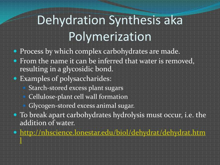 Dehydration Synthesis aka Polymerization