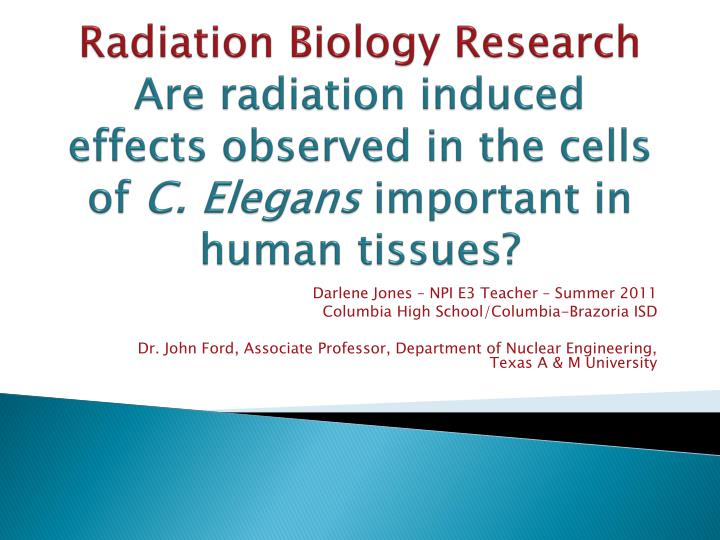 Radiation Biology Research