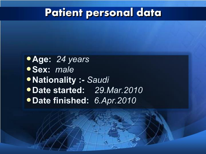 Patient personal data