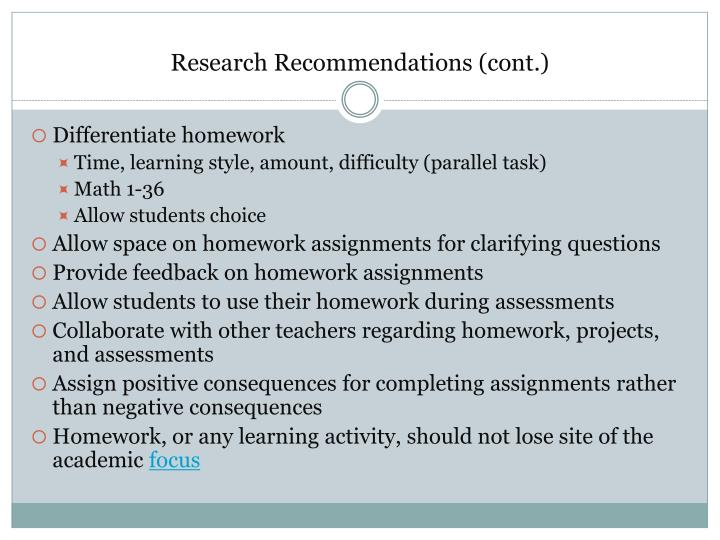 Research Recommendations (cont.)