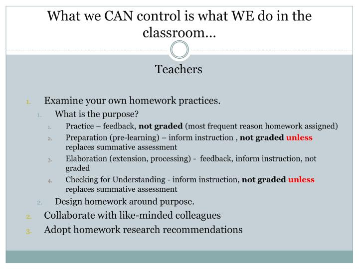 What we CAN control is what WE do in the classroom...