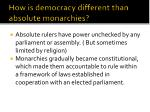 how is democracy different than absolute monarchies