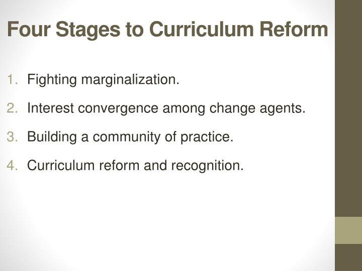 Four Stages to Curriculum Reform