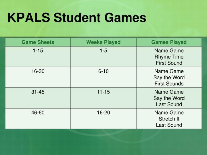 KPALS Student Games