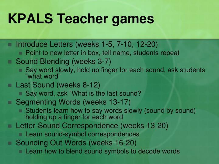 KPALS Teacher games