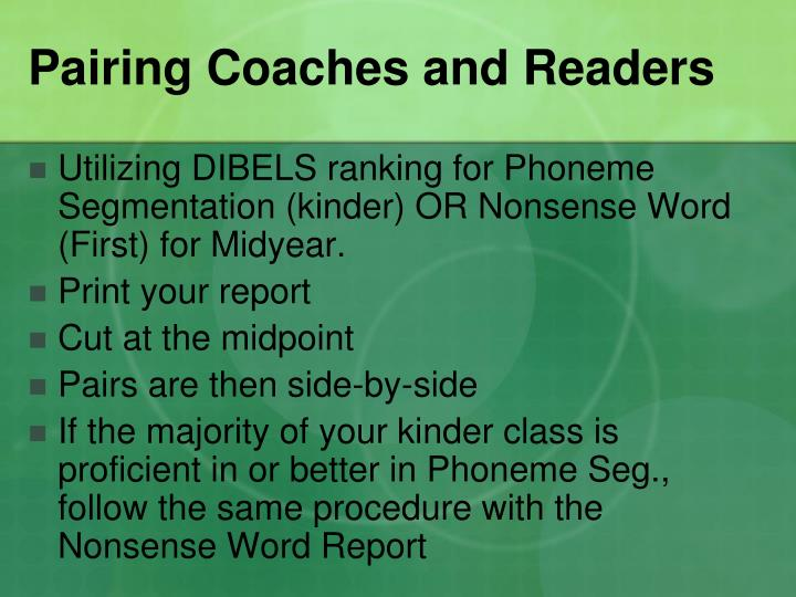 Pairing Coaches and Readers
