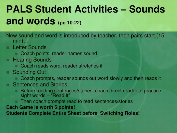 PALS Student Activities – Sounds and words