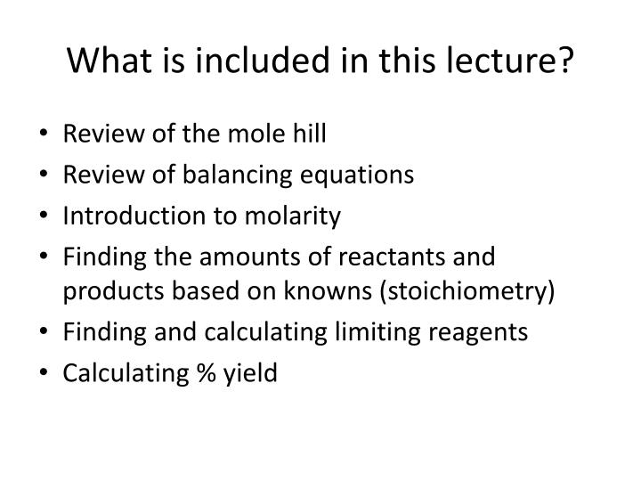 What is included in this lecture?