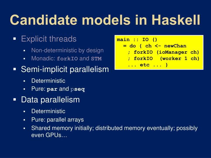 Candidate models in haskell