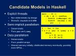 candidate models in haskell2