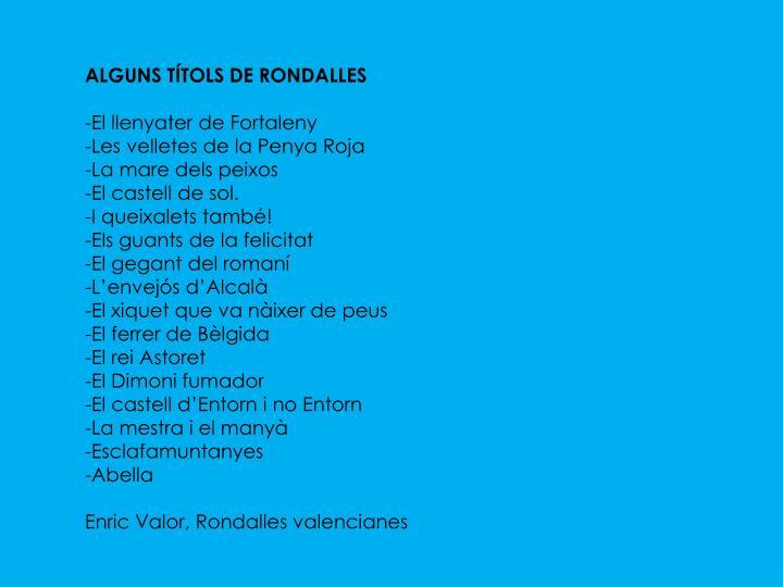 ALGUNS TÍTOLS DE RONDALLES