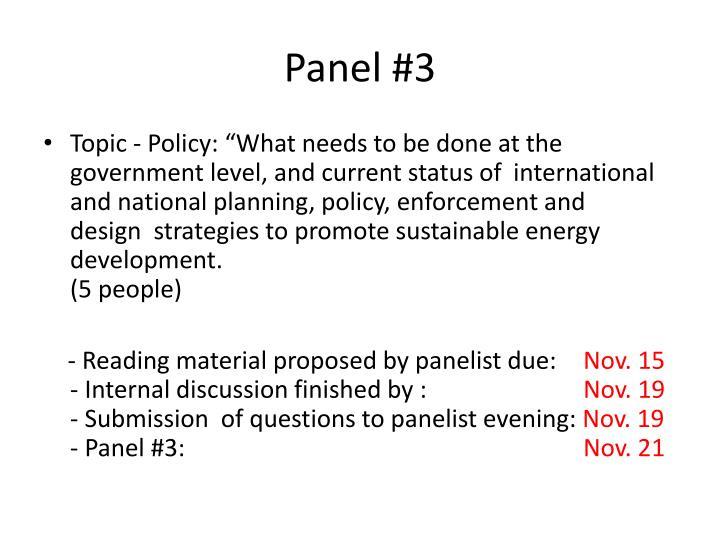 Panel #3