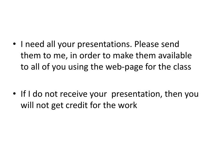 I need all your presentations. Please send them to me, in order to make them available to all of you...