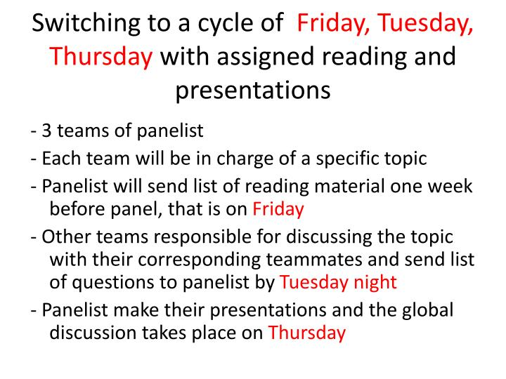 Switching to a cycle of friday tuesday thursday with assigned reading and presentations