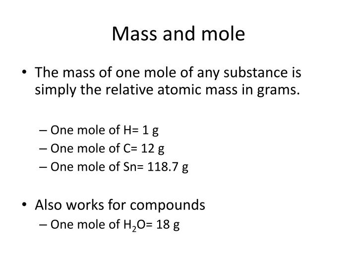 Mass and mole
