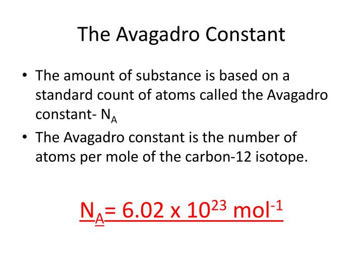 The avagadro constant