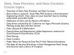 data data practices and data curation course topics