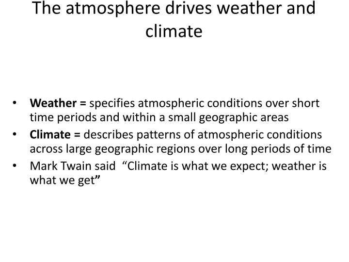 The atmosphere drives weather and climate