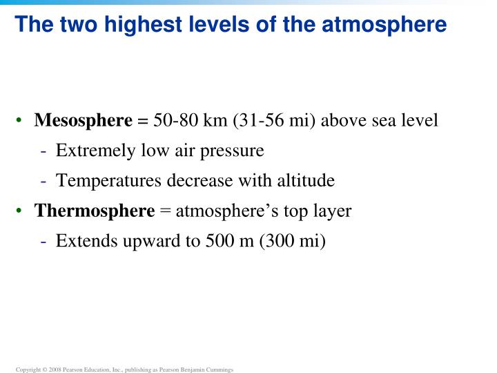 The two highest levels of the atmosphere
