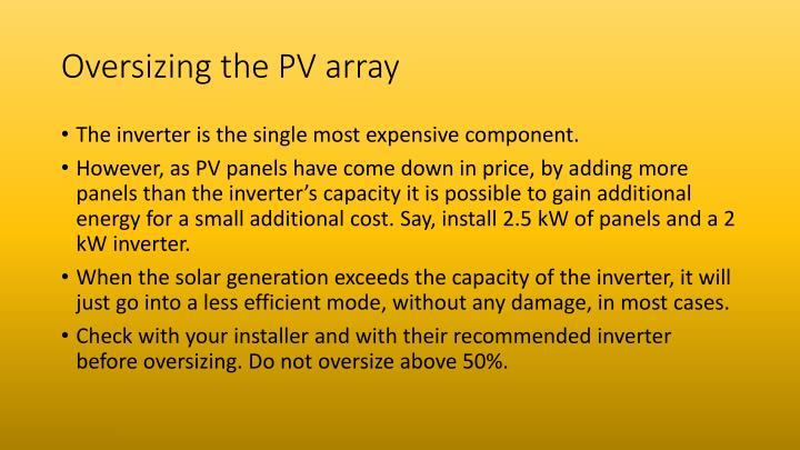 Oversizing the PV