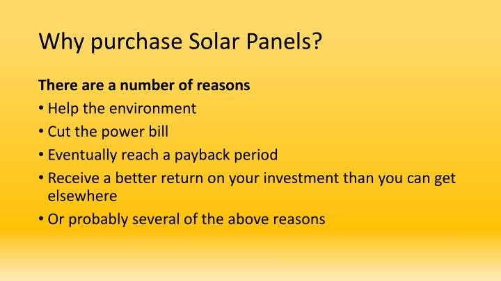 Why purchase solar panels