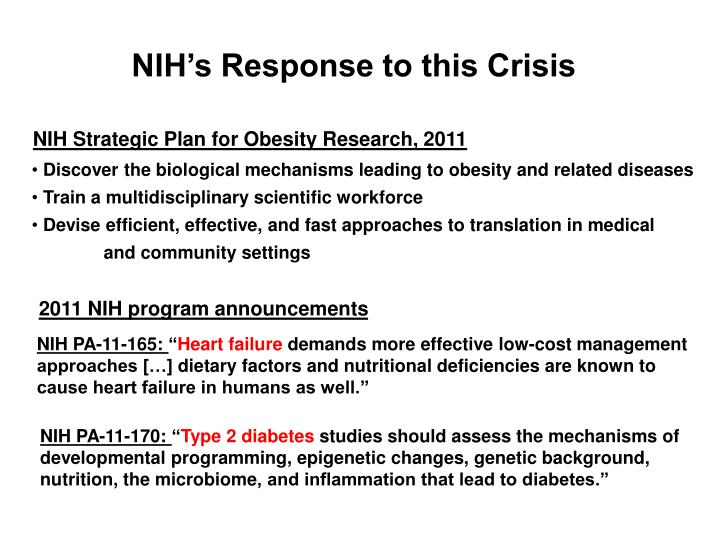 NIH's Response to this Crisis