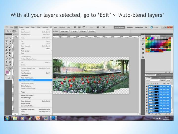 With all your layers selected, go to 'Edit' > 'Auto-blend layers'