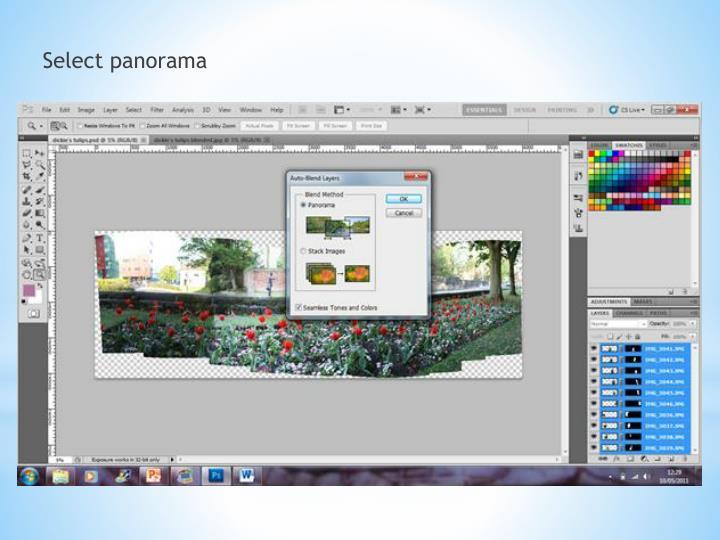 Select panorama