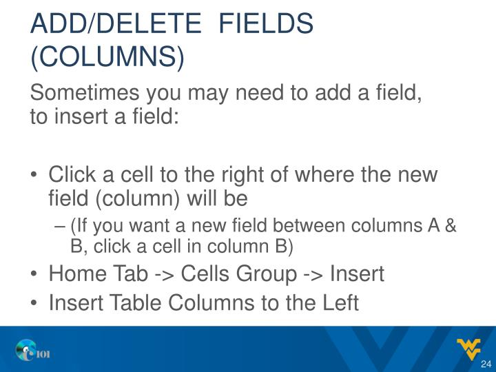 Add/delete  fields (COLUMNS)
