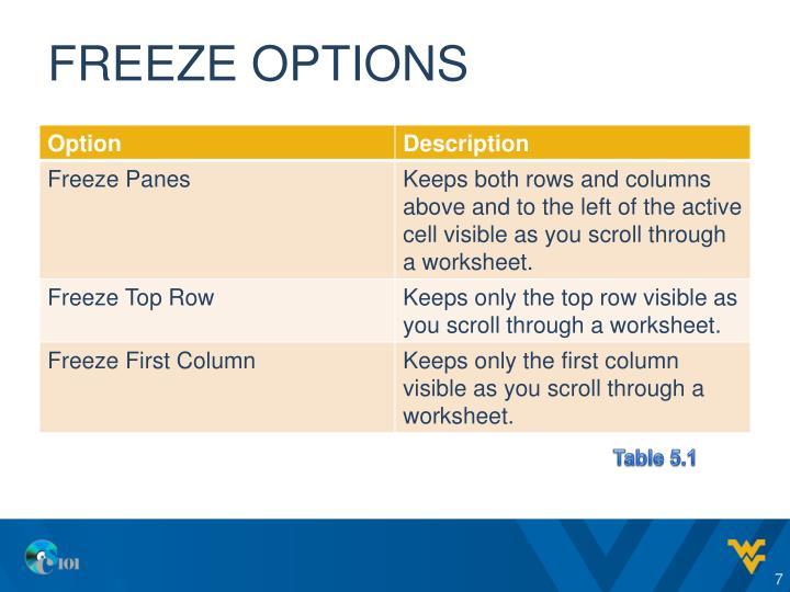 Freeze options
