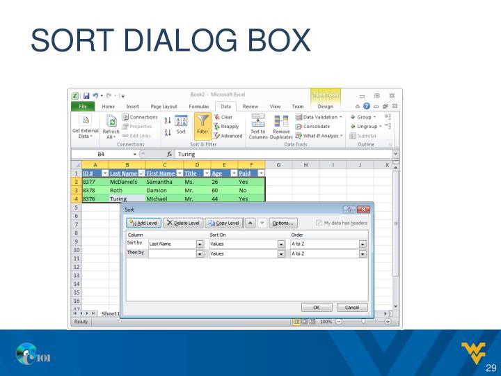 Sort dialog box