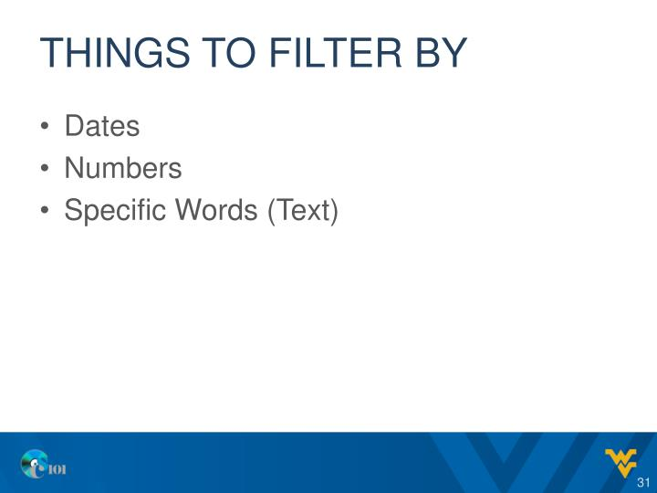 Things to filter by