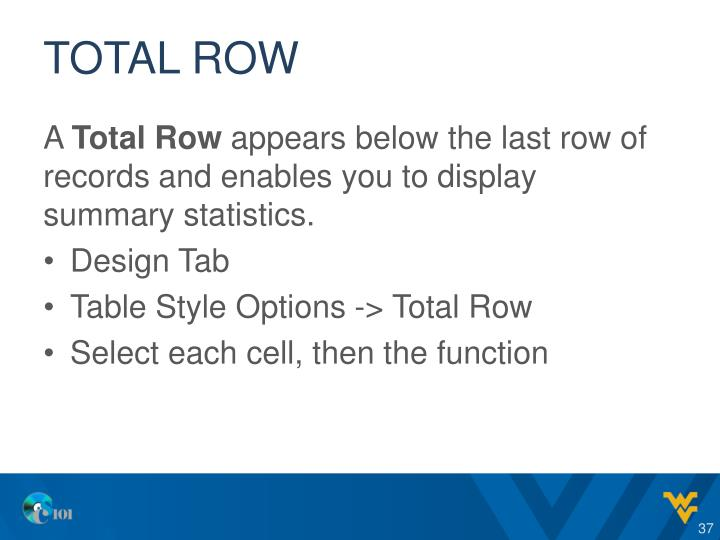 Total Row