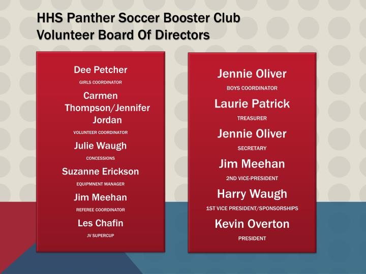 Hhs panther soccer booster club volunteer board of directors