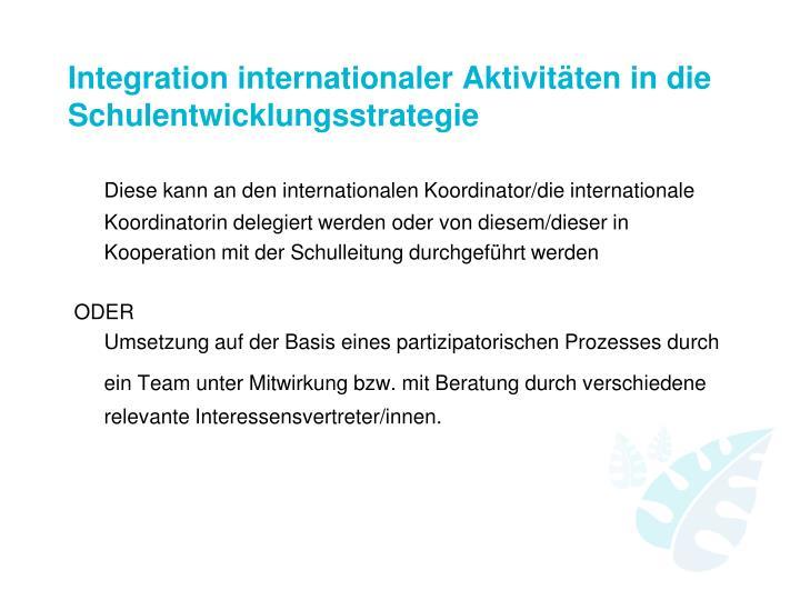 Integration internationaler Aktivitäten in die Schulentwicklungsstrategie