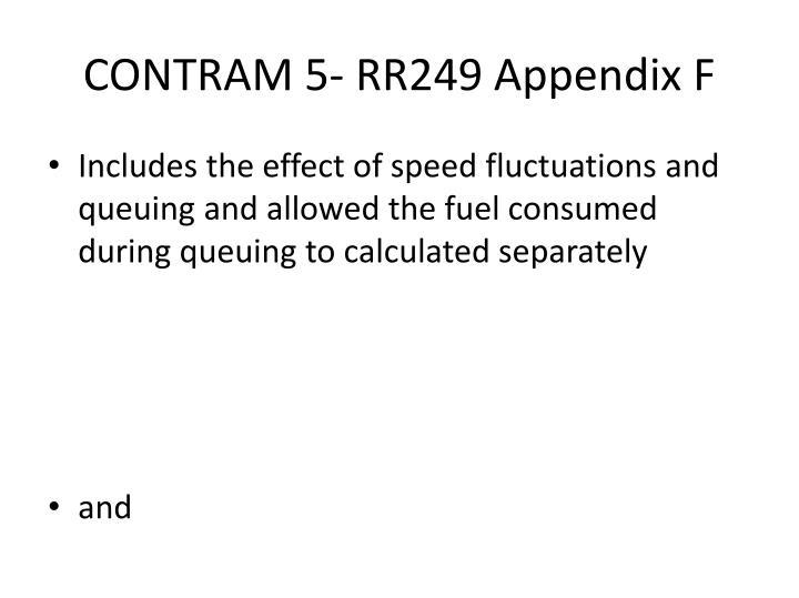 CONTRAM 5- RR249 Appendix F