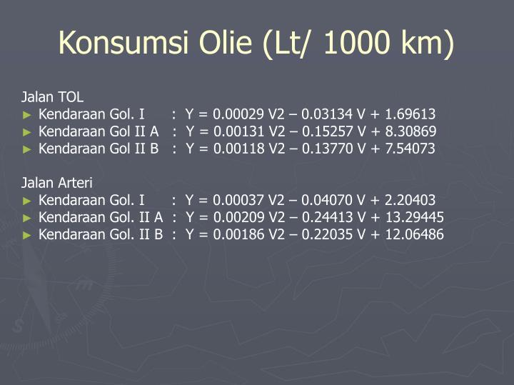 Konsumsi Olie (Lt/ 1000 km)