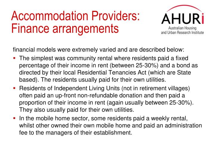 Accommodation Providers: Finance arrangements