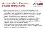 accommodation providers finance arrangements