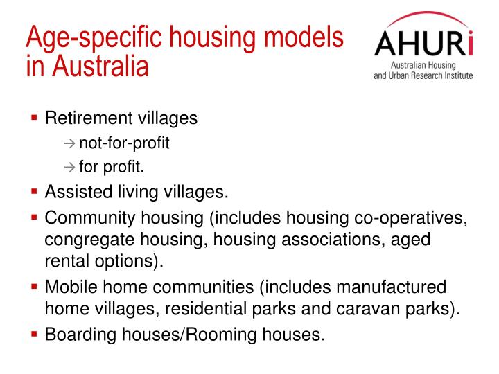 Age-specific housing models