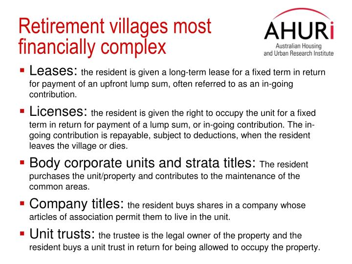 Retirement villages most financially complex