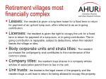 retirement villages most financially complex