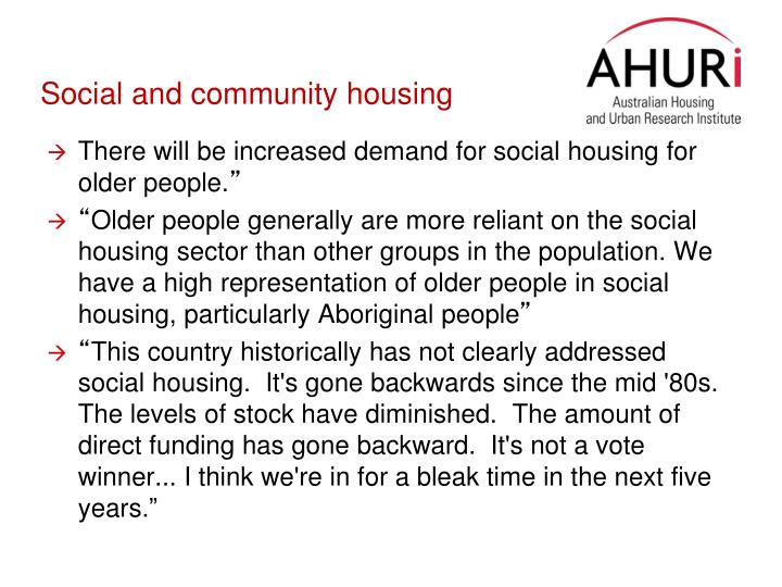Social and community housing