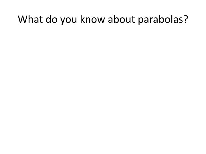 What do you know about parabolas?