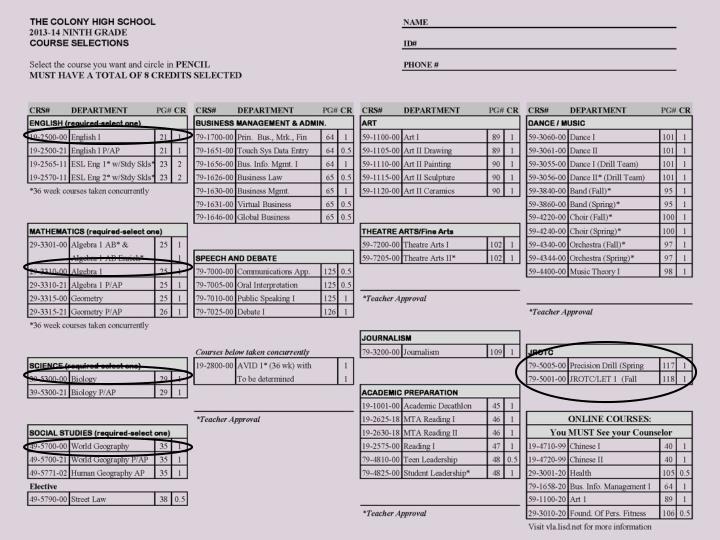 Freshman Course Selection  Sheet