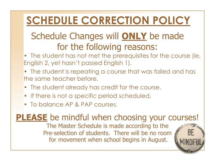 Schedule Changes will