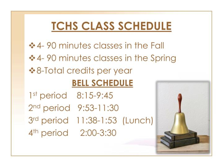 TCHS CLASS SCHEDULE