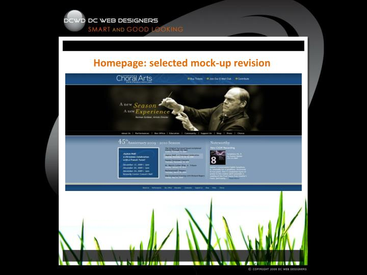 Homepage: selected mock-up revision
