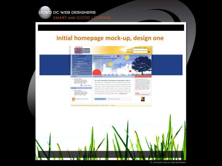 Initial homepage mock-up, design one